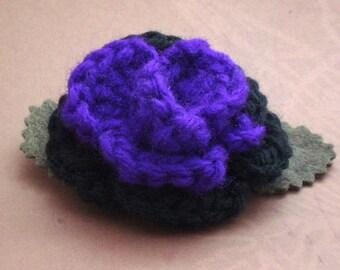 Crocheted Rose Barrette - Purple and Black (SWG-HB-HEHE01)