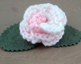 Crocheted Rose Bar Pin - Light Pink (SWG-PS-ZZ05)