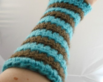 Aqua and Brown Striped Crocheted Arm Warmers (size S-M) (SWG-AW-SJ05)