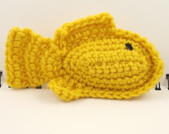 SALE - Crocheted Plush Fish in Golden Yellow