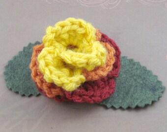 Crocheted Rose Hair Clip - Serenity (SWG-HC-SE02)