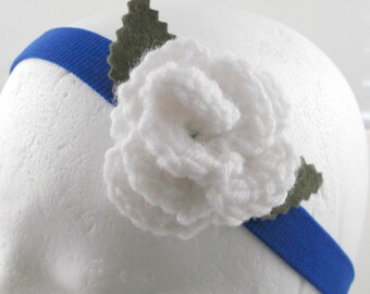 Crocheted Rose Headband - White Rose on Bright Blue Stretchy Headband (SWG-HH-ZZ02)