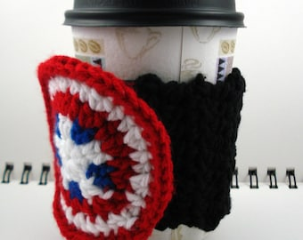SALE - Black Crocheted Coffee Cozy with Red, White, and Blue Circular Pocket (SWG-A01)