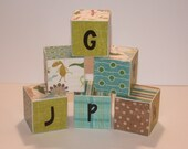 Alphabet Wooden Blocks set of 30 with Dinosaurs and Stripes