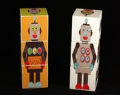 Wood Lil' Robot Blocks Set of 6 wooden puzzle toys or nursery decor