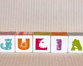 Animal Critter Alphabet Wood Blocks Princess Pinks Personalized Name Set Set of 5