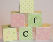 Alphabet Wooden Blocks set of 13 Baby Pink Polka Dots and Flowers