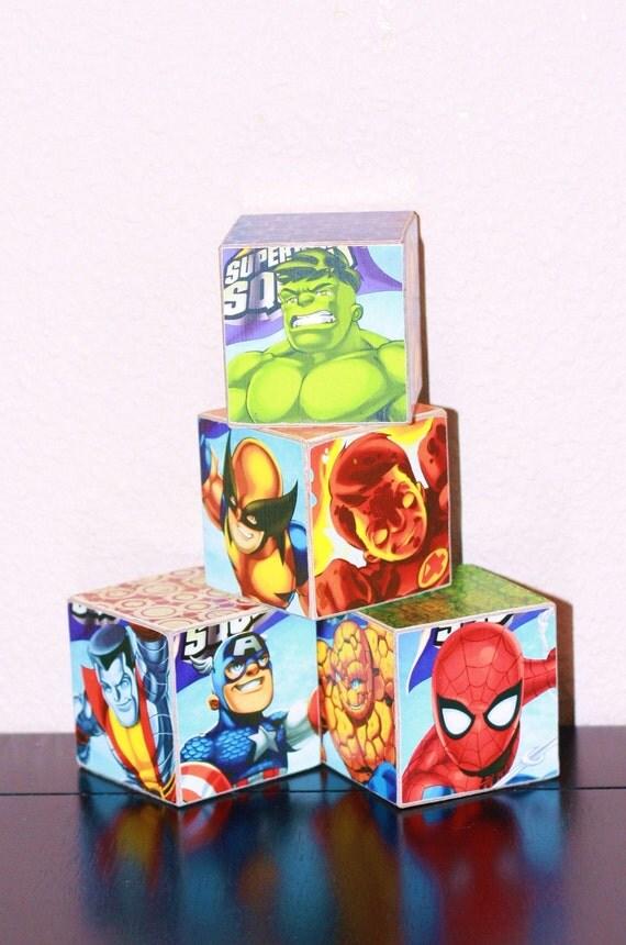 Set of 4 Super Hero 2 inch Wood Blocks