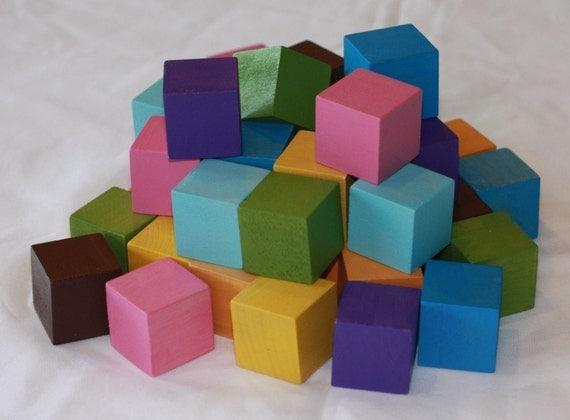 Colored Wood Blocks ~ Items similar to multi colored small bag of blocks