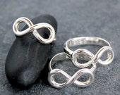 INFINITY RING, Round Square, 930 Argentium Silver, custom,text,personalized, message