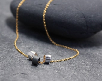 GOLD TRIO necklace,14K Yellow gold filled necklace, sterling silver tube necklace