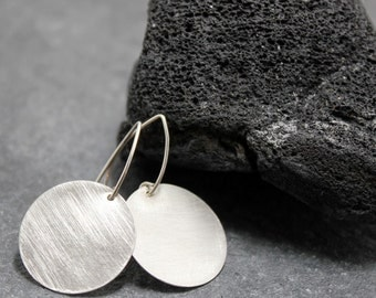 MEDIUM DISC earrings,sterling,silver,circle,round,modern, 14K gold