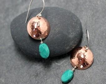 BOHEMIAN, turquoise, dangles, earrings,copper,sterling silver