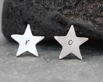 STAR Initial Earrings, Post, Studs, JULY 4th,sterling, silver, 99.9, fine silver