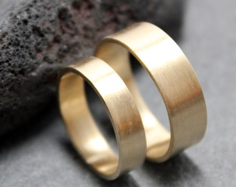 14K Gold 6mm 4mm Wedding Rings Bands