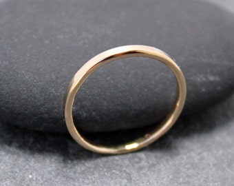 14K Solid Gold 2mm, STACKABLE, RING, band
