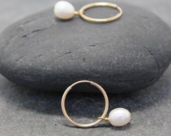 Interchangeable PEARL HOOPS, Dangles, earrings