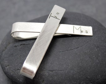 MIXED LETTER initial Tie Clip, bar,tack, for men