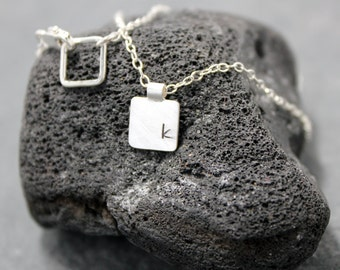 DOUBLE SQUARE Initial Necklace