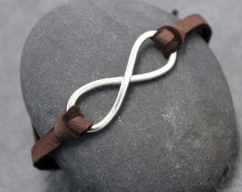 INFINITY LEATHER BRACELET priority mail