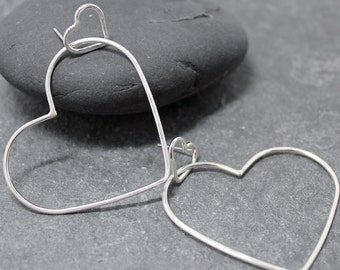 HEARTS IN ME, Sterling Silver Earrings,Hoops,Valentine