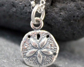 SAND DOLLAR necklace,sterling,silver