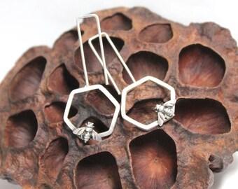 BEE MINE Earrings,Sterling Silver, 925, Hoops,Modern,Medium