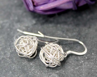 LOVE KNOT Dangle, Organic, Earrings, Silver, 14k, GF, GoldFill, Goldfilled, Yellow, Love, Knot