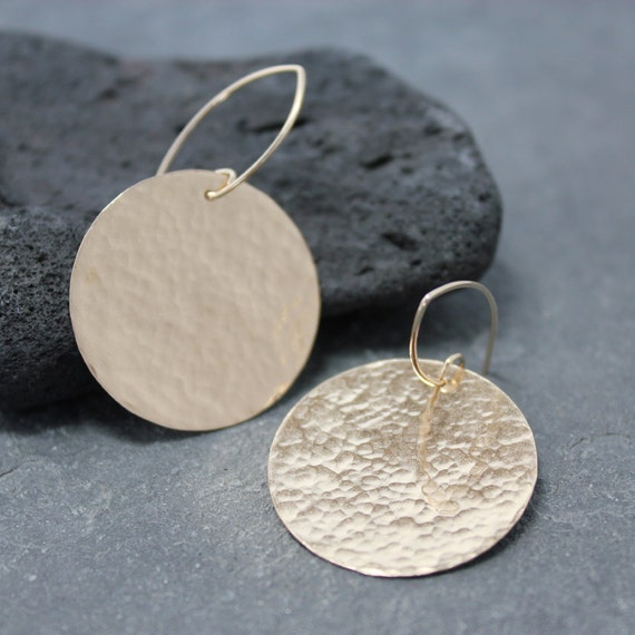 LARGE DISC Earrings, Sterling silver, Circle, Hand Made, 14k Gold filled, 14kYellow Gold