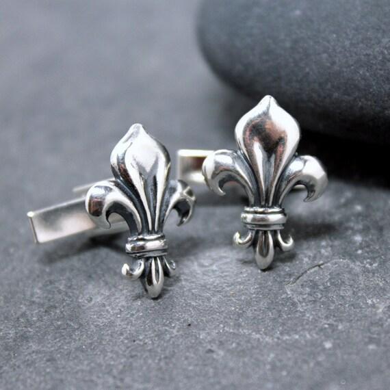 FLEUR DE LIS Cuff Links,Cufflinks,Cuffs, for men,Lily,flower,lily of france,925,sterling silver