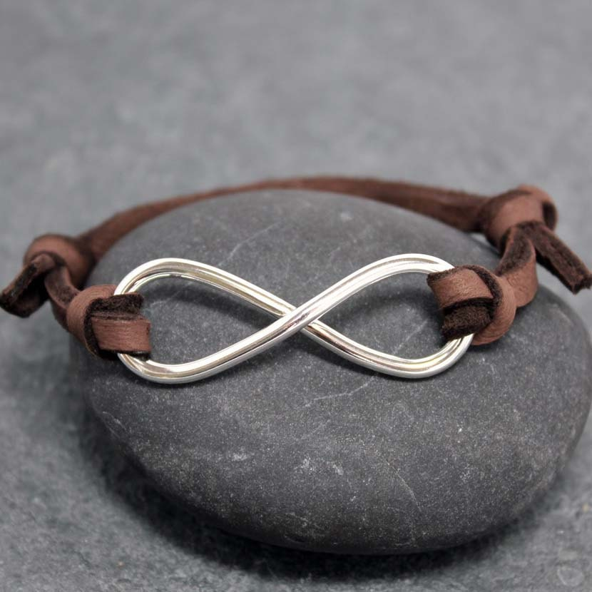 heavy infinity adjustable leather bracelet for