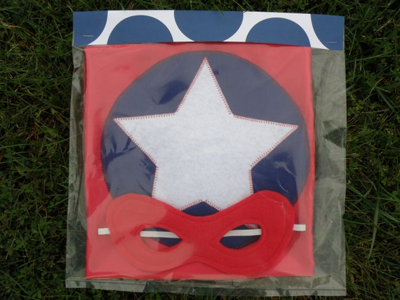 READY TO SHIP Captain America Inspired - Red - Super Cape with mask