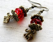 Vintage Bronze,Tibetan Ruby Red Faceted Glass Crystal, ELEPHANT Charm Earrings