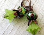 Artisan Handmade Antique Vintage Copper, Peridot Green Lily,  AB Crystal Leverback Earrings