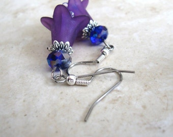 Tibetan Silver Style, Purple Lucite Lily Flower, Cobalt Blue AB Rondelle Crystal Earrings Hypoallergenic