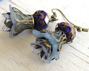 Antique Bronze Crown Filigree, Slate Blue Lucite Flowers, Crystal AB Earrings
