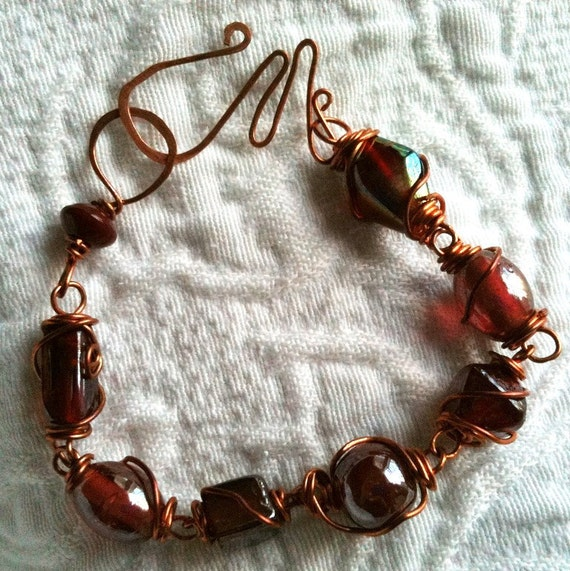 OOAK Solid Copper Wire Wrapped, Wine Glass Beads Bracelet, Squiggly Clasp