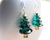xmas trees . emerald . swarovski crystal . sterling silver . earrings