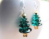 Weihnachten-Bäume. Emerald. Swarovski-Kristall. Sterling Silber. Ohrringe