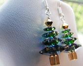 christmas trees . vitrail medium . swarovski crystal . sterling silver . holiday earrings