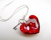 truly in love . swarovski crystal . sterling silver . heart & key necklace