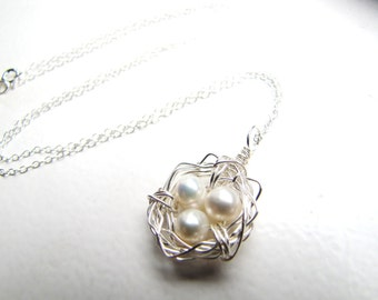 petite cluster . birds nest . sterling silver. freshwater pearl . wire wrap necklace