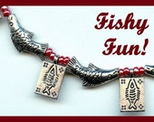 Fish, Fish and MORE Fish (3 pc Silver Fishy Necklace, Bracelet and Earring Set)