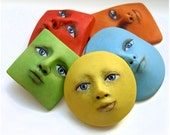 Bright Rainbow Shapes Set of 5 Colorful Art Doll Parts Face Cabs Red Orange Yellow Green Blue Goddess Cabochons Polymer Clay 2551