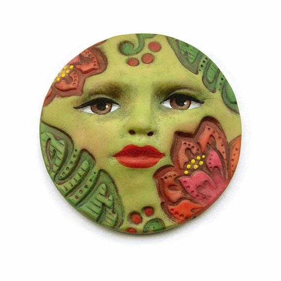 Jungle Flowers Tropical Green 40mm Art Doll Goddess Face Cab - 2198 - polymer clay