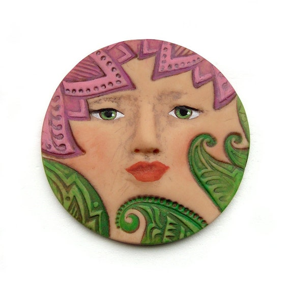 Tropical Flower Garden Purple Green Leaves Art Doll Face Cab 40mm Round Spring Jungle Plant Goddess Polymer Clay Cabochon 2408