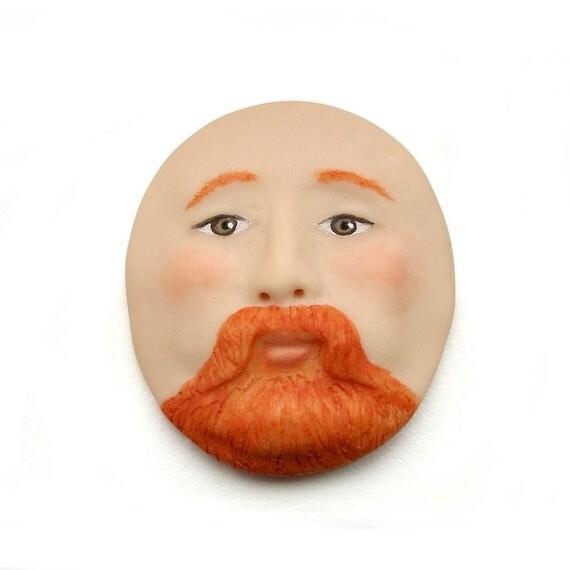 Redbeard Irish Man Face Cab Red Hair Ginger Redhead Brown Eyes Art Doll Cabochon Polymer Clay Beard Mustache 2482