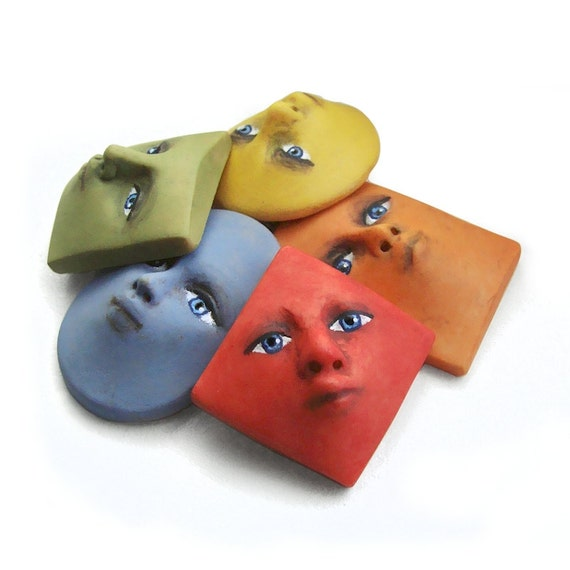 Rainbow Shapes Set of 5 Colorful Bright Art Doll Face Cabs Red Orange Yellow Green Blue Goddess Cabochons Polymer Clay 2486
