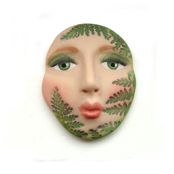 Green Fern Woodland Garden Art Face Cab Nature Plant Goddess Cabochon 2532 polymer clay