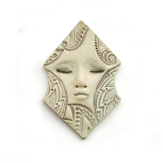 Ivory Hexagon Dream Art Doll Face Cab Polymer Clay Pale Sleepy Cream Geometric Goddess Cabochon 2574
